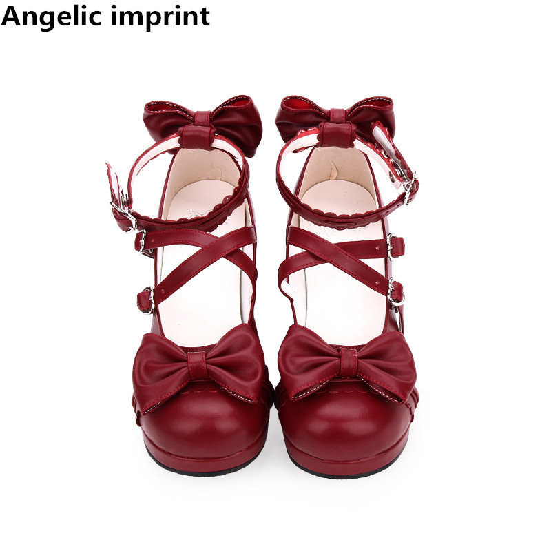 Angelic imprint woman mori girl lolita cosplay shoes lady mid heels pumps women princess dress party