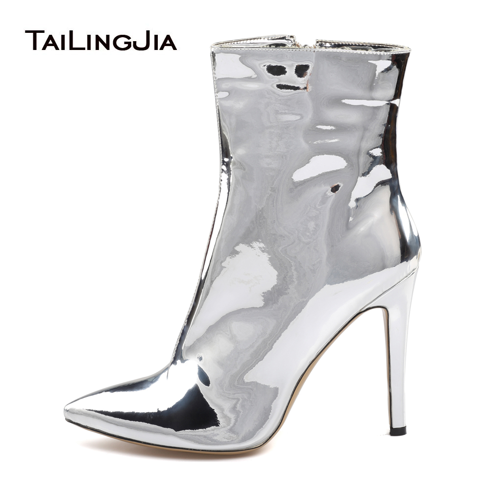 Women High Heel Ankle Boots 2018 Sliver Shiny Patent Leather Pointed Toe Booties Ladies Autumn Fall Warm Stiletto Shoes Size 46Women High Heel Ankle Boots 2018 Sliver Shiny Patent Leather Pointed Toe Booties Ladies Autumn Fall Warm Stiletto Shoes Size 46