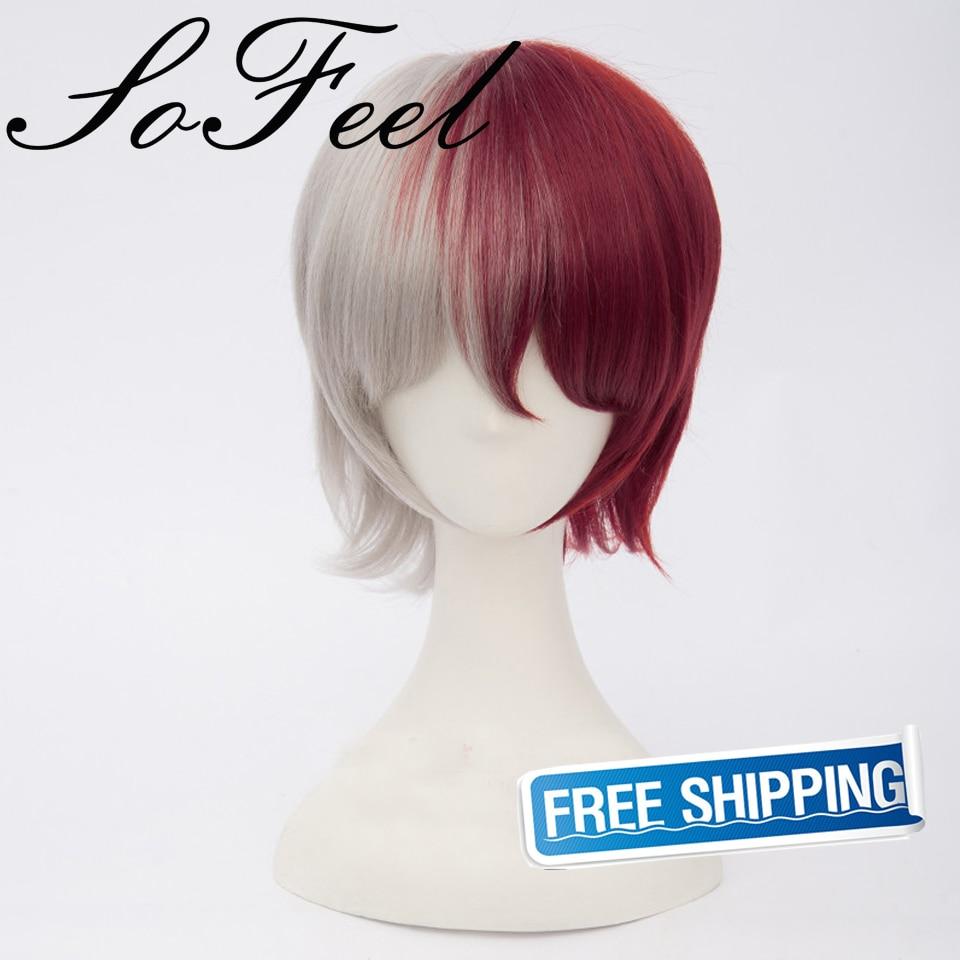 Sofeel Boku Academia TodorokiShoto Cosplay wig red white mixed Anime Short hair high temperature fiber
