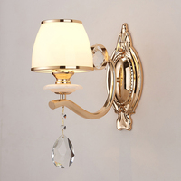 European Crystal Wall Lamp E14 Modern Simple Glass Shade Lighting Hotel Lobby Corridor Bedroom Bedside Wall