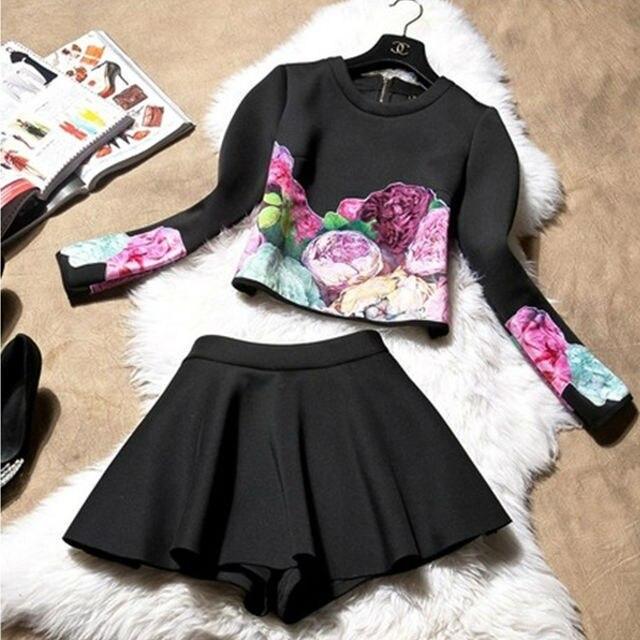 European Style Ladies Two Piece Dress Women Clothing Set Full Print Top + Skirts Suit New 2017 Korea Style Suite Girl Women