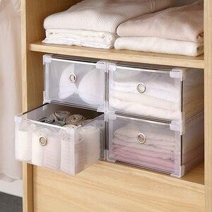 Image 3 - 5PCS Transparent shoe box dustproof storage box can be superimposed combination shoe cabinet Clamshell men and women shoe box