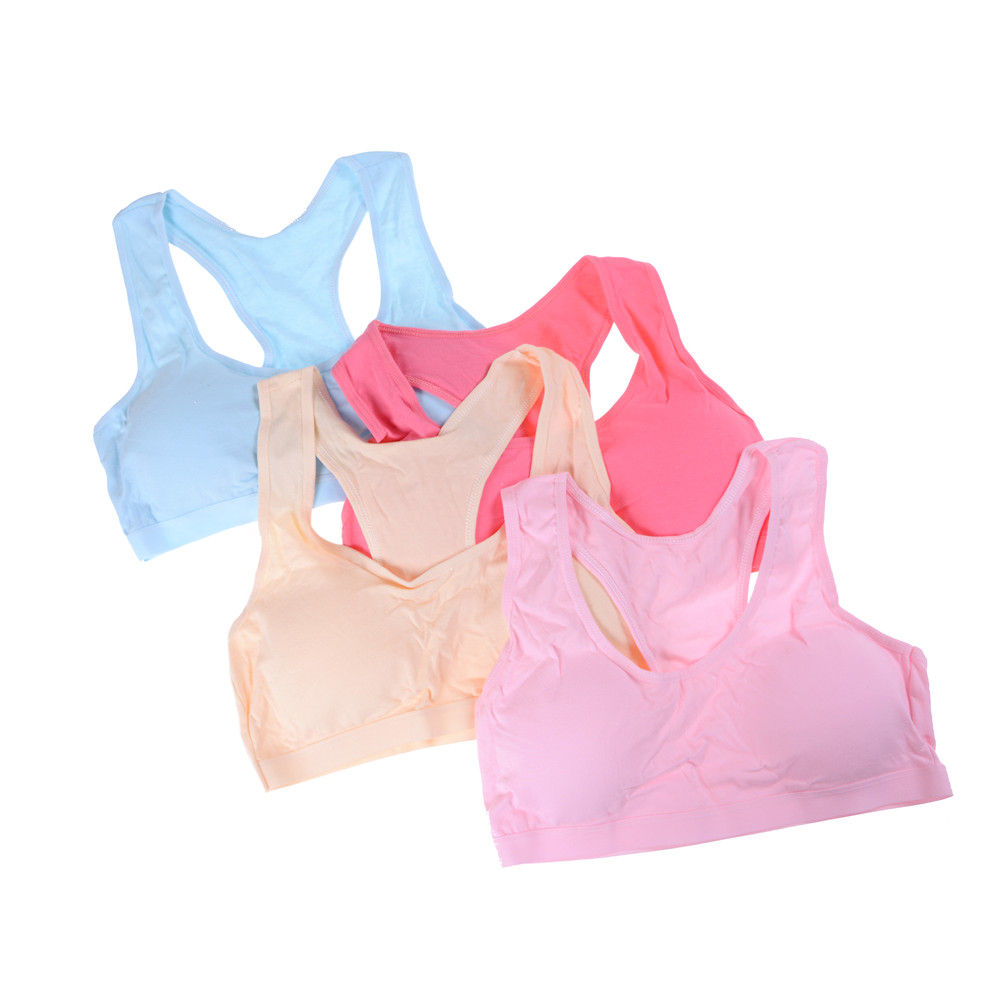 1PCS Wireless Teens Girls Sports Bra Puberty Underwear Teenager Girls Sport Bra Chest Pad Cotton Young Girls Training Bra