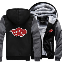 2016 new autumn winter men thicken jacket Anime Naruto Uzumaki Hoodies sweatshirts Red clouds hoodie loose fit M-4XL