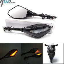 FOR DUCATI MONSTER 696 796 BMW KTM Motorcycle Street bikes Cruiser Indicator Rearview Side Mirrors & Integrated LED Turn Signals