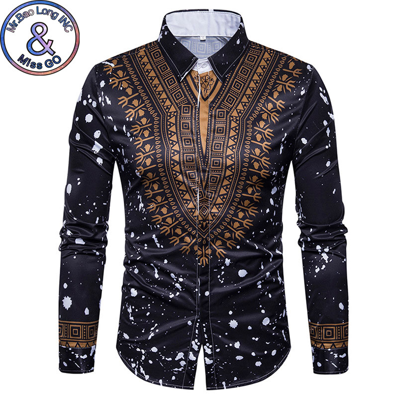 Mens Geek Psychedelic Splash-Ink African Dashiki Printed Long Sleeve Dress Shirts 2018 Fashion Casual Brand Shirt Chemise Homme