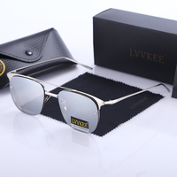 LVVKEE Brand design Fashion Ladies rimless sunglasses Women Retro Metal Frame Glass lenses Sun glasses oculos Female sunglass