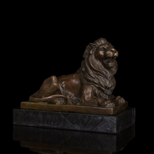 China feng shui statue Formidable lying male Lion Bronze sculptures home decoration chinese guardian lions