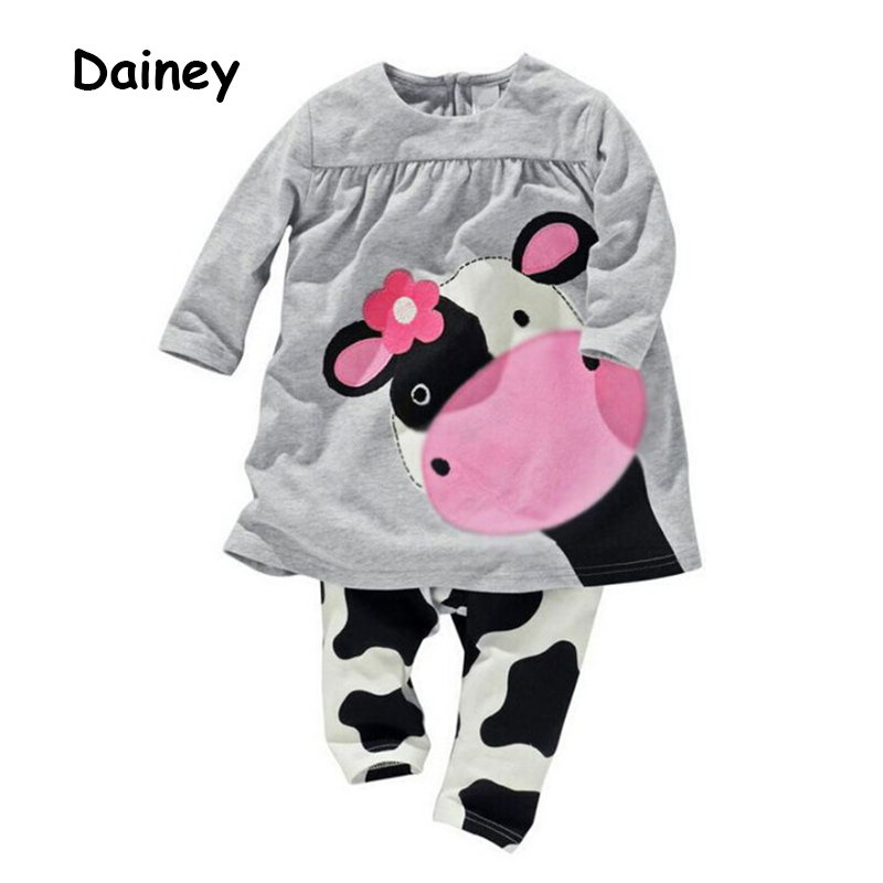 Winter Spring Baby Girls Clothes Sets Long-sleeved T-shirt+Pants Tracksuit Cow Girl Cotton Clothes Suit Kids Clothing Set CTZ01 free shipping children clothing spring girl three dimensional embroidery 100% cotton suit long sleeve t shirt pants