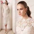 Elegante encaje blanco lf2739 madre de la novia viste 2016 ilusión o cuello mangas largas hasta la rodilla mujeres boda vestido de fiesta Formal