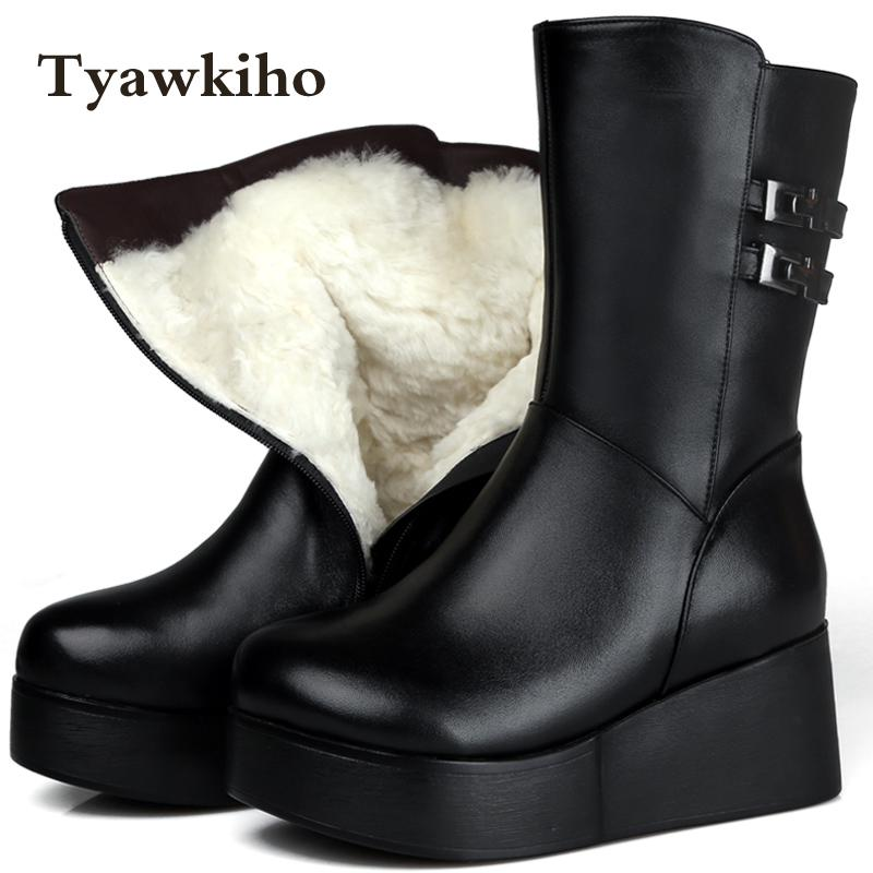 Tyawkiho Winter Snow Boots Black Genuine Leather Mid Calf Boots Warm Fur Insole 7 CM Wedge