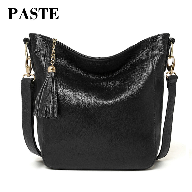 Brand New Designer Women's Bucket Bag Cowhide Leather Simple Leisure All-match Tassel Female Shoulder Messenger Bag Soft Leather the new spring and summer 2017 singles simple japanese variety diagonal bag bag leisure all match original bag