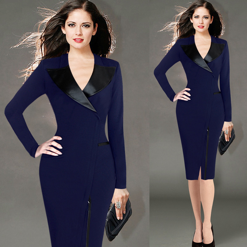 bc57e8e9d8b Plus Size Satin Lapel V Neck Elegant Dress Knee Length Classy Office Wear  to Work Bottom Slit Navy Black S M 2XL XXXL 4XL 5XL