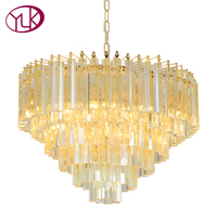 Youlaike Modern Crystal Chandelier For Living Room Luxury Hanging Crystals Lighting Fixtures Gold LED Lustres De