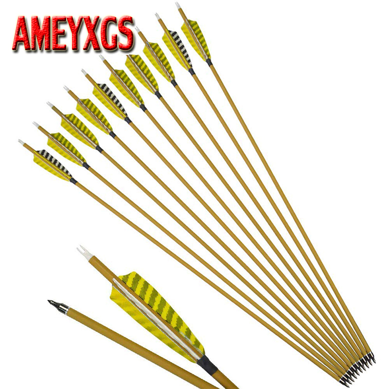 3/6/12pcs Archery Carbon Arrow 76cm Spine500 5inch Turkey Feather Outdoor Hunting Shooting Accessory