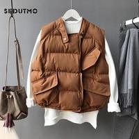SEDUTMO Winter Harajuku Vest Women Parkas Streetwear Jacket Autumn Coat Sleeveless Vintage Black Waistcoat Basic Outerwear ED427