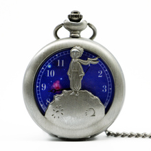 Little Prince Bronze Color Necklace Pocket Watch Vintage Steampunk Quartz Fob Watches With Chain Antique Clock Children Gift