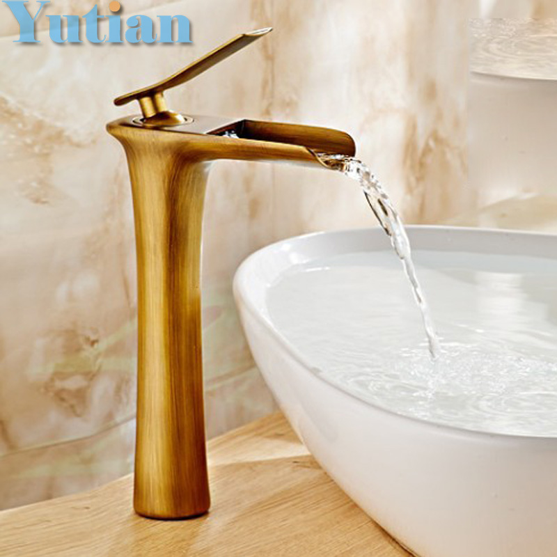 Free shipping Basin Faucet Antique Brass waterfall Bathroom Basin Sink Mixer Tap Crane,torneira YT-5062 free shipping kitchen faucet torneira wall mounted antique brass swivel bathroom basin sink mixer tap crane yt 6035