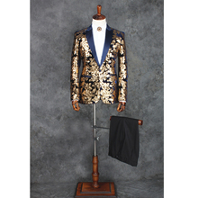 100%real mens stars/golden sequins embroidery black/blue tuxedo suit /event/evening/stage performance