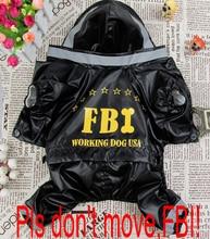 Pet clothes 2014 new hot sale fashion pet clothing for dogs FBI raincoat four sizes S-XL for cat puppy dog clothes Perro abrigo.