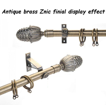 Free Shipping High Quality Pinecone Design Plated Antique Brass Metal Curtain Rod Finials For