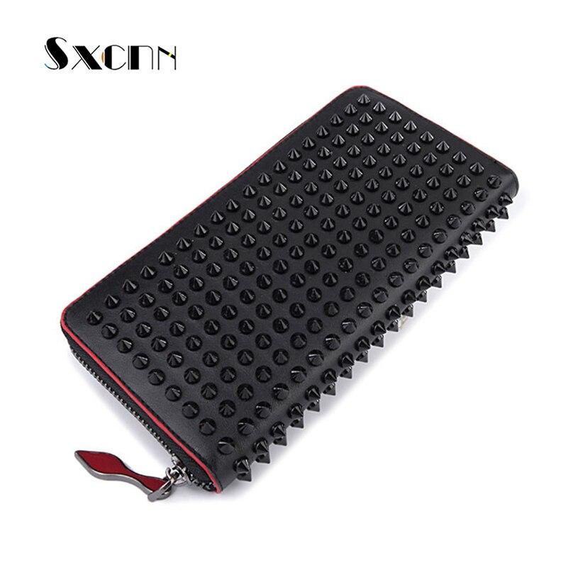SXCNN Rivet Style femmes portefeuille mode pince à billets de luxe en cuir véritable portefeuille porte-monnaie pochette mâle femelle Long portefeuille 2019