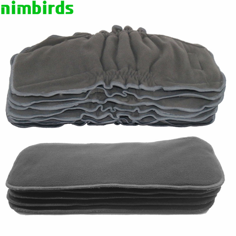 5 stk Bamboo Charcoal Indsæt Baby Gussets Trækul Indsæt Nappy, 5-lags Trækul Diaper Indsæt Genanvendelig Klud Diaper Insert