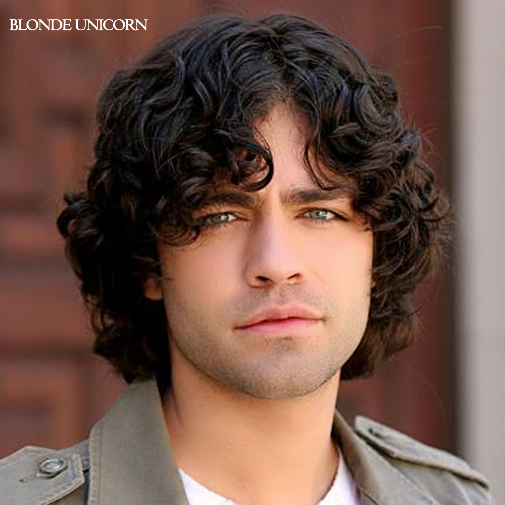 Blonde Unicorn Middle Parting Short Curly Wigs For Men Short Curly
