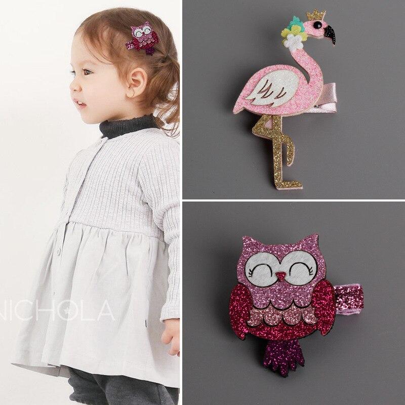 Корея ручной свинья Фламинго Сова Лебединое животных, аксессуары для волос зажим для волос цветок корона шпильки повязки для девочек 3