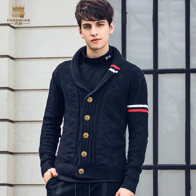 Fanzhuan Free Shipping New Fashion 2018 Spring Men's Male Autumn Winter Short Cardigan Personalized Jacquard Sweater 825198