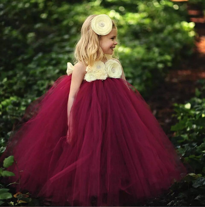 Wine Red New Arrival Girls Tutu Flower Girl Dresses Spaghetti Criss Cross Straps Empire Tulle Long Dresses for Girls цена и фото