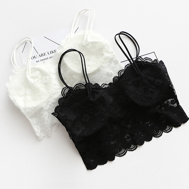 Women Sexy Vest Chest Padded Tank Tops For Women Wearing Fitness Underwear Lace bralette crop top Ladies(China)