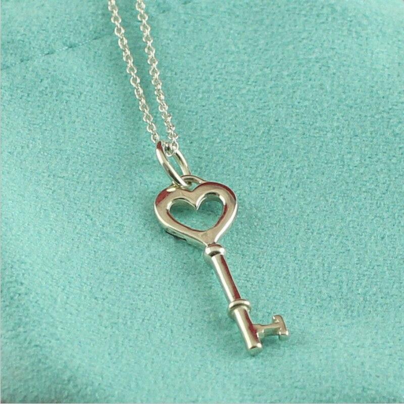 Véritable argent 925 Mini coeur D'amour charme clé pendentif collier femmes 100% d'origine marque conception bijoux avec boîte de cadeau libre ensemble