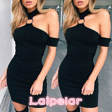 Womens Short Mini Dresses Sleeve Evening Party Bodycon Off Shoulder Summer Dress Solid Black Laipelar