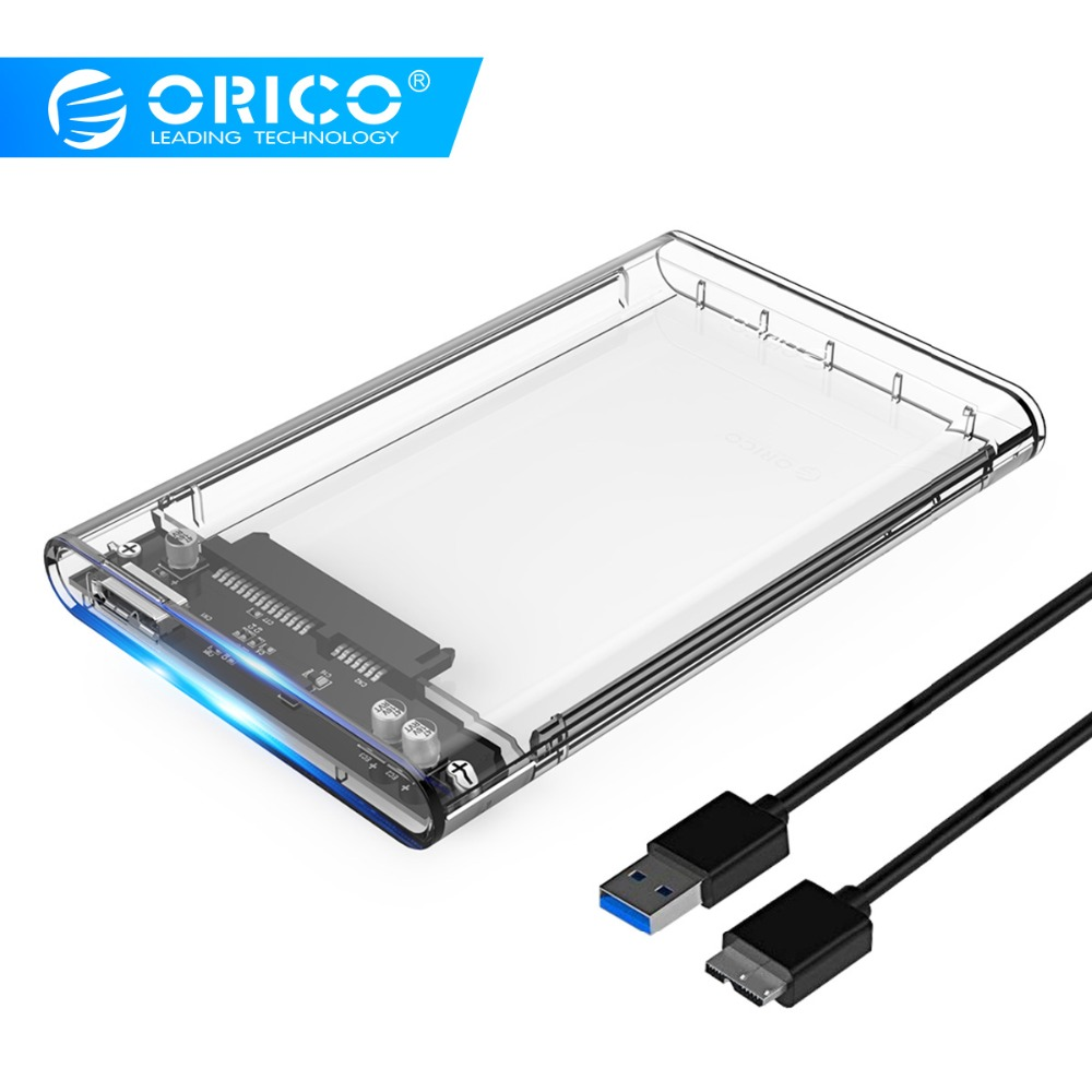 ORICO 2.5 USB 3.0 SATA HDD Box HDD Hard Disk Drive External HDD Enclosure Transparent Case Tool Free 5Gbps Support 2TB