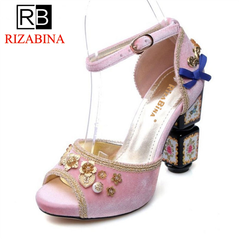 где купить RizaBina Size 34-43 Women Genuine Leather High Heel Sandals Peep Toe Ankle Strap Thick Heel Sandal Women Party Club Summer Shoes по лучшей цене