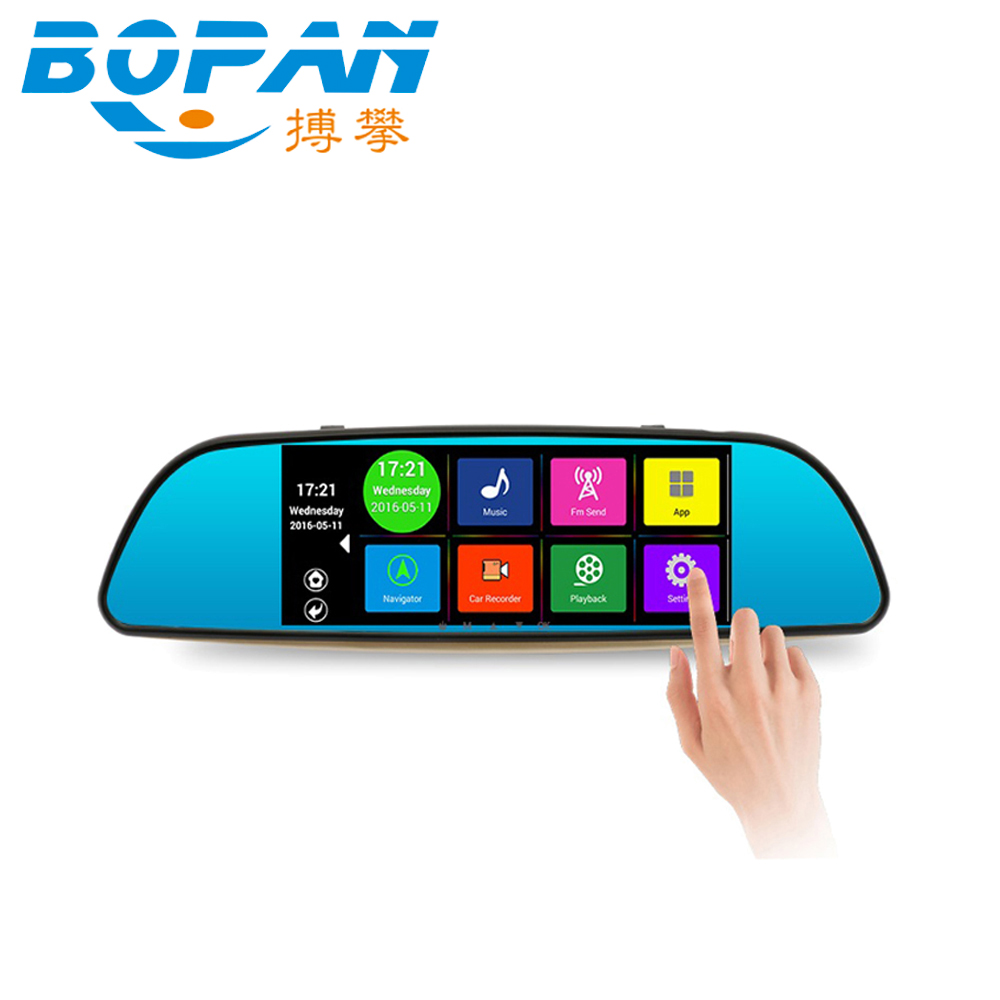 Car DVR Backup-Camera Touch-Screen Rear-View-Mirror-Monitor WIFI Bluetooth Android 7inch
