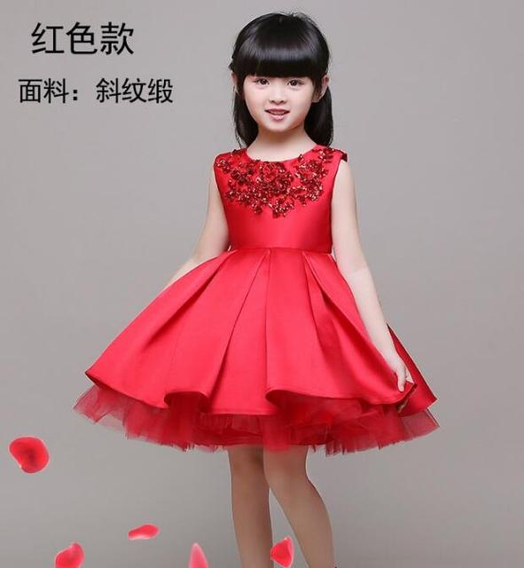 Sequins embroidery Flower Girl Dress Red Sequin Princess Tutu Party Wedding  Dresses for Girls Christmas Style 25e744fdf787