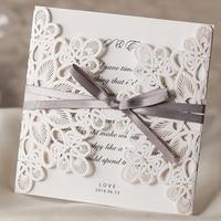25pcs White Wedding Invitations Card Laser Cut Wedding Invitations With Envelope Ribbon Invitation Cards Wedding Decoration