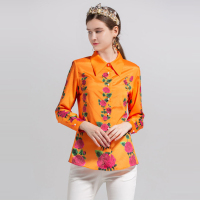 2018 Autumn Pretty Floral Print Shirts Women Fashion Fashion Sweet Full Sleeve Turn down Collar Slim Female Orange Blouse