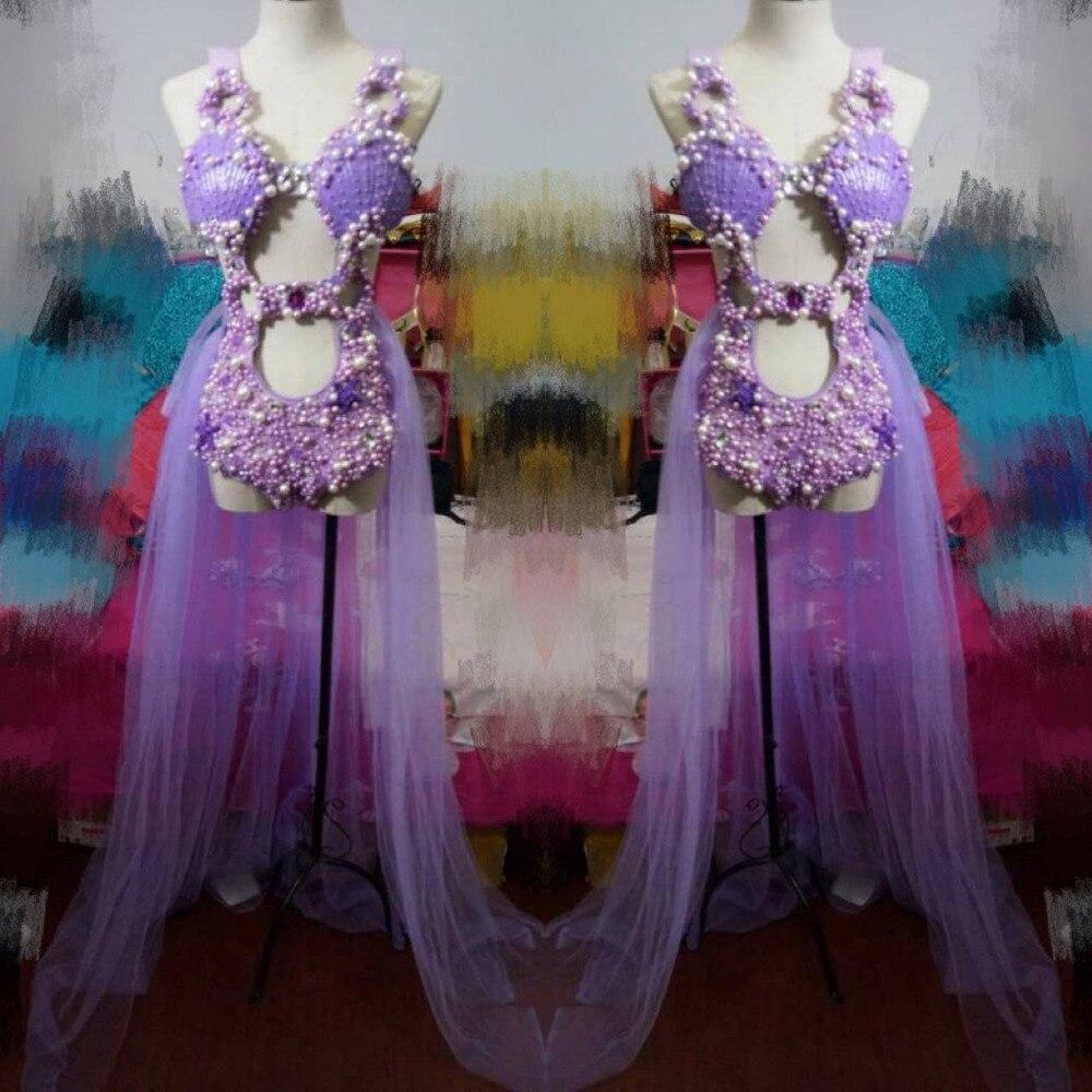 Женский костюм с жемчужинами и кристаллами, комплект из трех предметов, блестящий женский комбинезон с кристаллами, сексуальный костюм для ... - 3