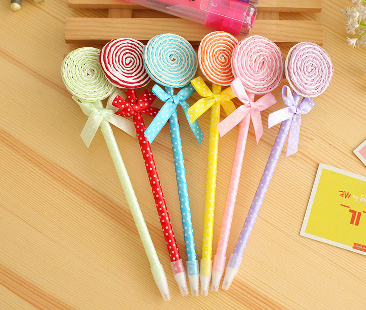 24PCS Lollipop pen souvenirs birthday party decorations kids supply colorful baby shower favors and cute gift