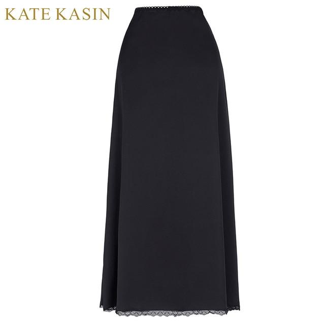 8296a728c9 Kate Kasin Solid White Long Skirt Women Modal Black Long Half Slips Soft  Underwear Femme Spandex For Skirts Dress Underskirt