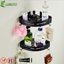 Nail Free Space Aluminum Black Bathroom Shelf Cosmetic Rack With Single Lever Bath Corner Basket Hook C