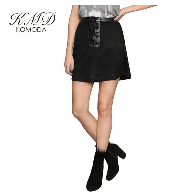 a9b3b5c2c6 KMD KOMODA Patchwork Pu Mini Skirt Women Suede Elegant A-line Skirt Female  Casual Vintage Basic Skirt Ladies