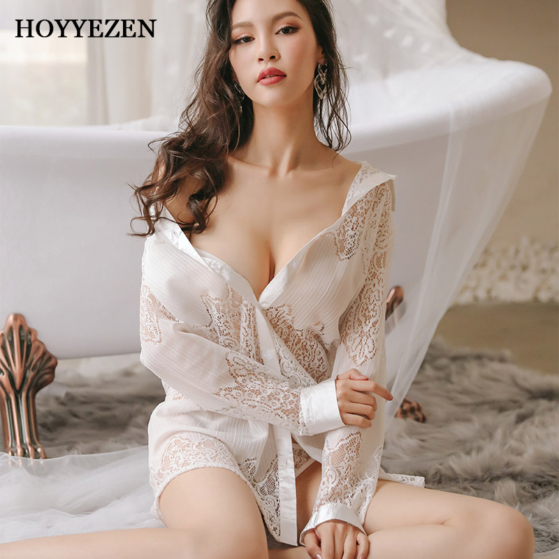 Hoyyezen sexy fashion woman lace ice silk transparent hollow long section pajamas sleepwear nightdress set