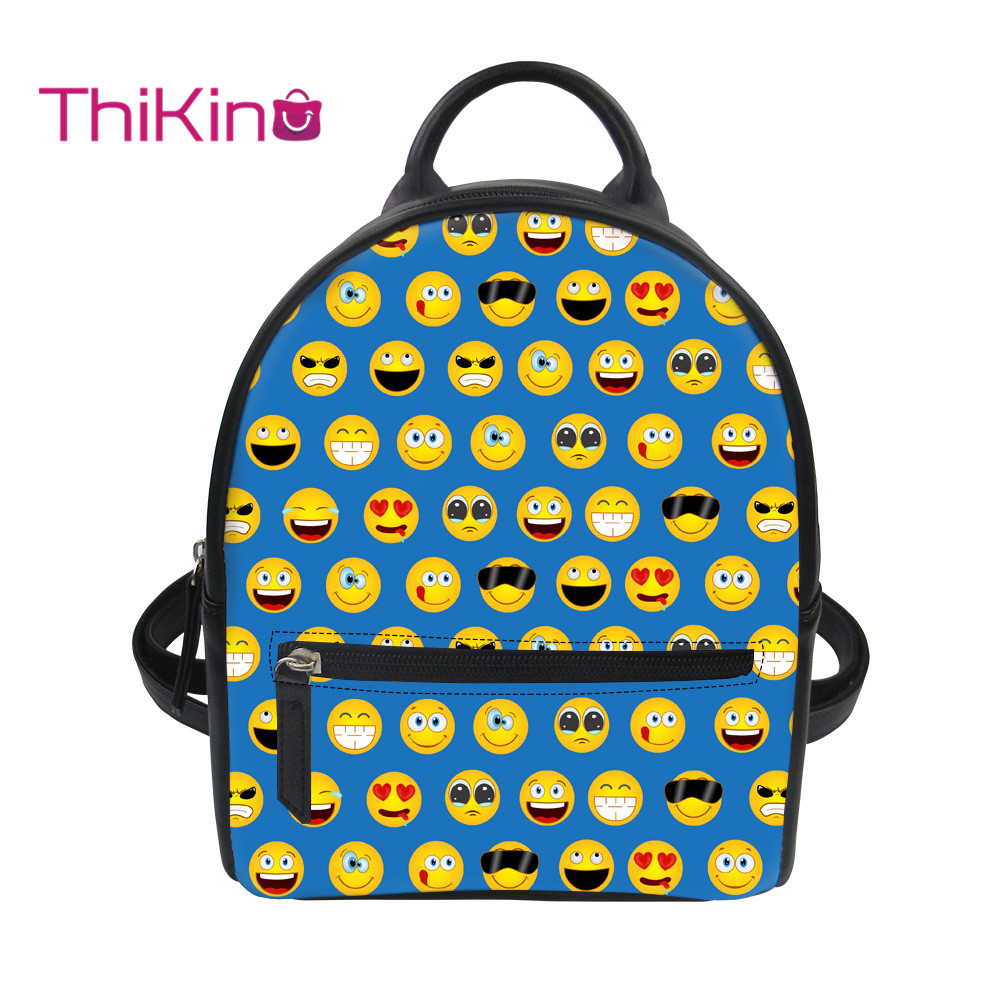 Thikin 2019 New 3D Printing Emotional Backpack for Women Girls PU Mini Cute Leather Schoolbag Student Preppy Style Bag