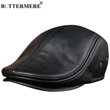 BUTTERMERE Flat Caps Men Real Leather Duckbill Hats Berets Earflaps Black Casual Directors Cap Male Vintage Winter Driving Caps