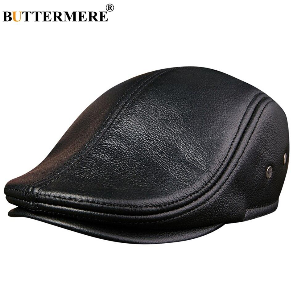 200ceac1 BUTTERMERE Flat Caps Men Real Leather Duckbill Hats Berets Earflaps Black  Casual Directors Cap Male Vintage