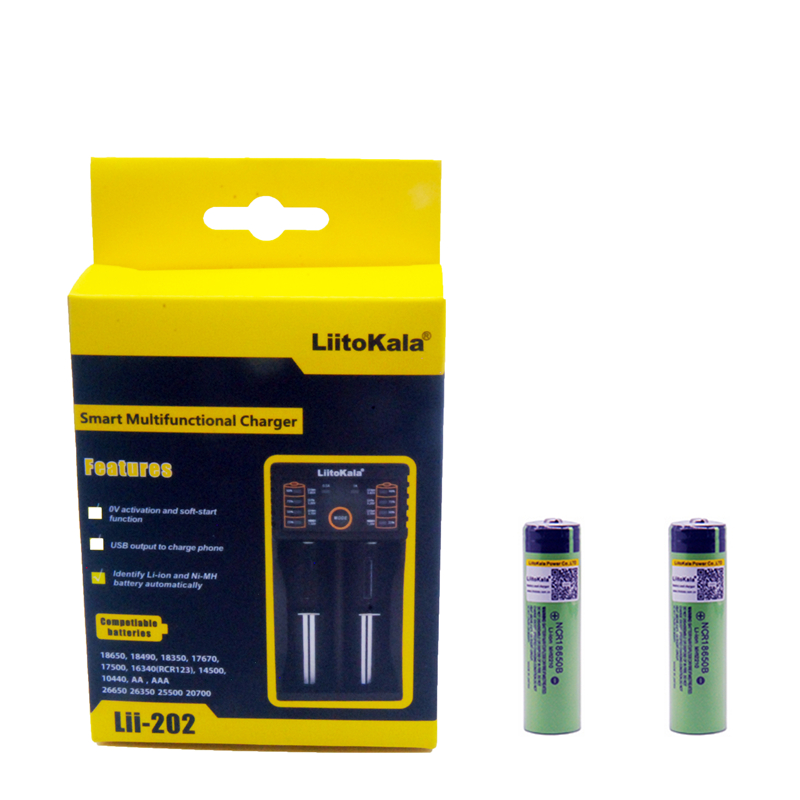 2pcs Liitokala 3.7V 3400mAh 18650 Li-ion Rechargeable Battery (NO PCB) + Lii-202 USB 26650 18650 AAA AA Smart Charger